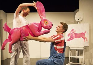 the-artist-who-painted-a-blue-horse-a-pink-rabbit-adam-ryan-greets-the-artist-andrew-cullimore-the-very-hungry-caterpillar-show-photo-credit-pamela-raith