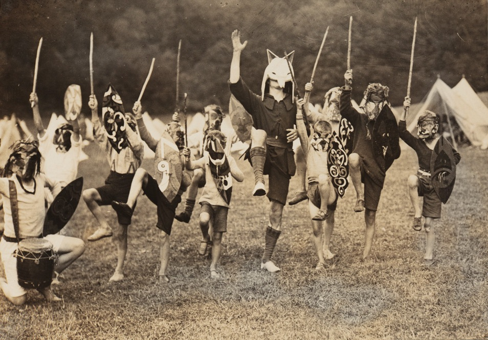 Angus McBean (photographer). John Hargrave as White Fox Spirit Chief with children at Dexter Fam Tribal Training Camp, 1928.