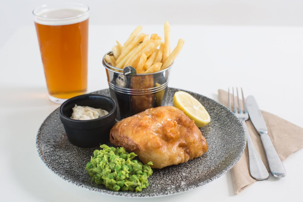 Beer-battered Hastings fish and chips